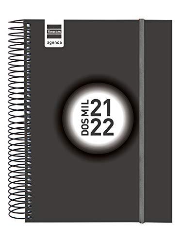 Finocam Agenda 2021 2022 1 Día página Septiembre 2021, Agosto 2022 12 meses E10, 155x212 Espir Label Negro Español