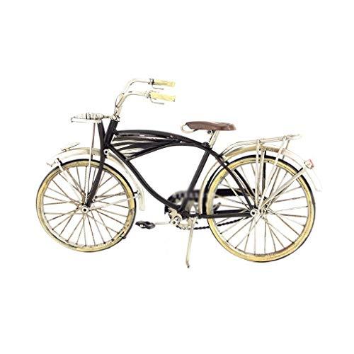 WANNA.U Modelo de automóvil Modelo de automóvil clásico Adornos de Bicicleta de Hierro Forjado Vintage Adorno Artesanal Antiguo Adorno Modelo de Bicicleta Regalo Negro (Color: Negro)