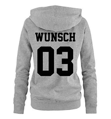 Comedy Shirts - Wunsch - Damen Hoodie - Grau / Schwarz - Gr. S
