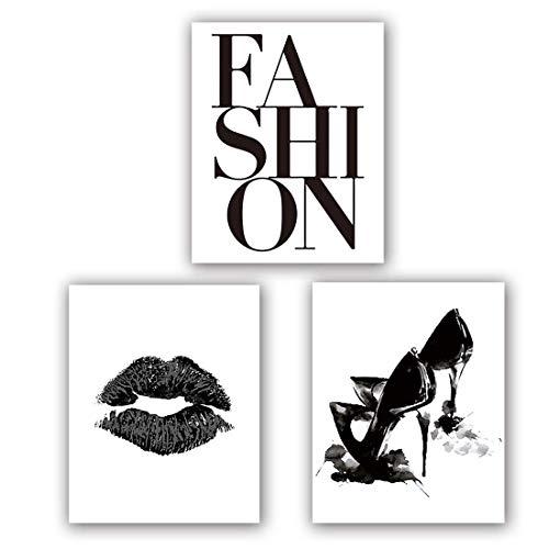 KARTME Modernos cuadros de pared para el salón, póster de labios de tacón alto, arte de pared, elegante juego con imágenes a juego en blanco y negro, modernos cuadros de pared de 3 (8 x 10 pulgadas)
