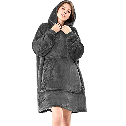 Lushforest Hoodie Blanket ,Oversized Super Soft Warm Comfortable Giant Hoody, Onesize Fits All Compatible Men Women Teens (Dark Gray)