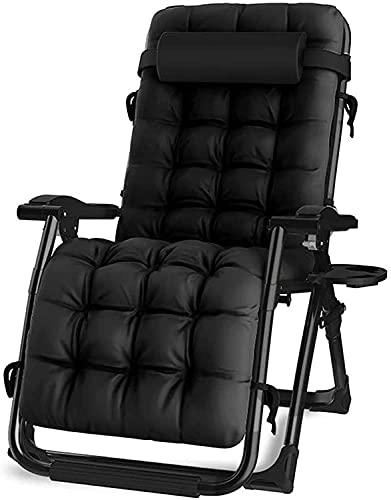 JAKWBR Silla acolchada de gran tamaño con gravedad cero, tumbona plegable para patio, sillón reclinable ajustable con soporte para tazas, para patio trasero, jardín junto a la piscina, color negro