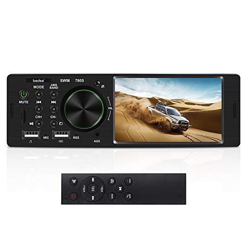Autoradio mit Bluetooth Freisprecheinrichtung, bedee 4.1 Zoll LCD Monitor Stereo Auto Radio, FM/BT/USB/AUX/SD MP3 MP5 Media Player, Einzel-DIN-Receiver mit 7 Beleuchtungsfarben, 4 x 60W, ISO Stecker.