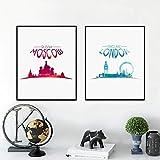 Paisaje de la ciudad MOSCÚ LONDRES Impresión de arte en lienzo Imágenes de pared, Acuarela Arte de la ciudad Pintura en lienzo Decoración del hogar 60x80cmx2pcs Sin marco
