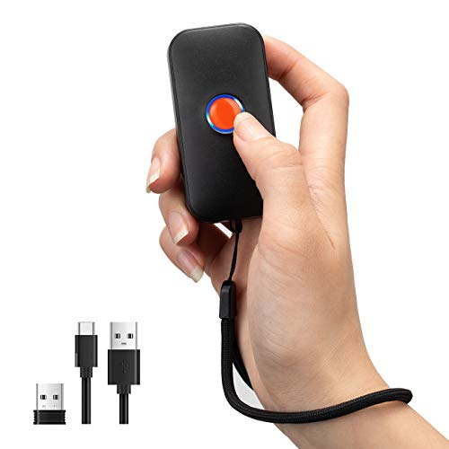 Tera Mini Tragbarer Barcode-Scanner CMOS Handscanner 3-in-1 Bluetooth & USB-Kabel & 2,4G Wireless für 1D 2D QR Barcode-Lesegerät, 1100