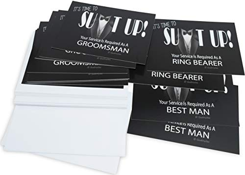 Groomsmen Proposal Cards, It's Time To Suit Up, Set of 14 With Envelopes Includes 2 Best Man Cards and 2 Ring Bearer Cards.