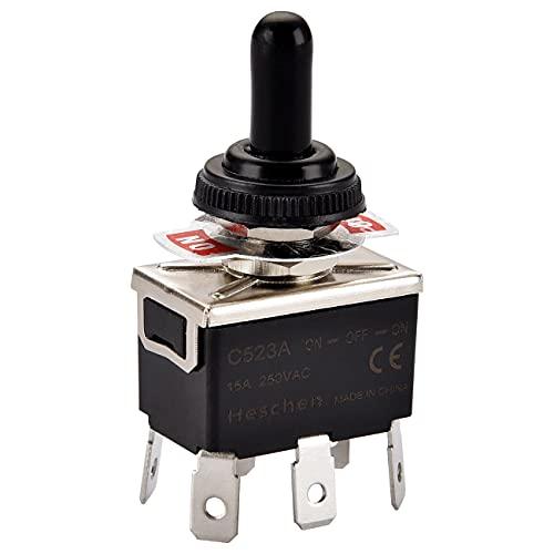 Heschen- Interruttore di metallo a levetta DPDT ON/OFF/ON, 3 posizioni, 15 A, 250 V CA, 6 terminali a linguetta CE, con copertura impermeabile.