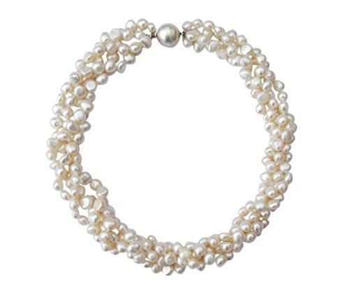 TreasureBay Halskette Süßwasser-Zuchtperlen weiß Barock-Perlen, 4-reihig, mit Magnetverschluss, runder Verschluss silberfarben, in Geschenkbox