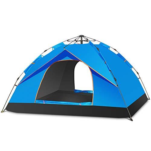 LXLTLB Tente Ventilation, Tente De Randonnée pour 3-4 Personnes, Double Couche Automatique Étanche avec Fenêtre en Maille Ventilée, Installation Facile