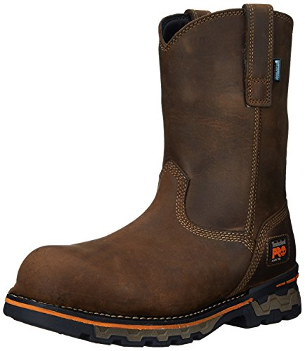 Timberland PRO Men's AG Boss Pull-On Alloy Toe Waterproof Work and Hunt Boot, Brown Distressed Leather, 10 M US