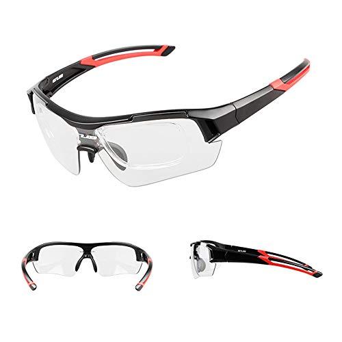 LYY Smarte Farb-Wickelbrille, Outdoor Windproof polarisiert Sports Sunglasses,UV400 Schutz Unzerbrechliche Sportgläser mit Einem Myopia Frame,B