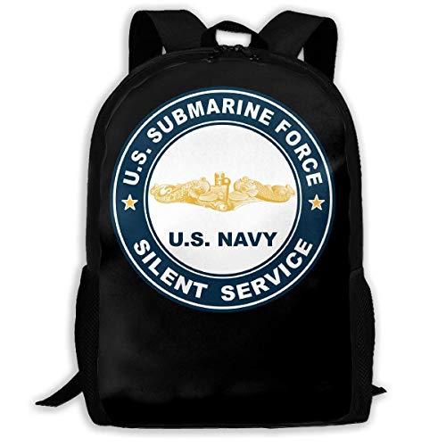 ADGBag US Submarine Force Silent Service Gold Dolphins Fashion Outdoor Shoulders Bag Durable Travel Camping for Kids Backpacks Shoulder Bag Book Scholl Travel Backpack Sac à Dos pour Enfants