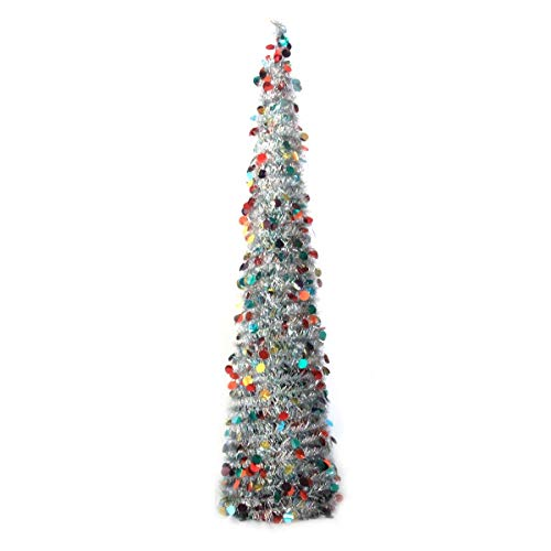 Artificial Collapsible Tinsel Christmas Trees, Wedding Home Party Decorative Tree, Glittering Sparking Xmas Decoration Tree Sequin Bling Pop Up Xmas Tree w/Stand