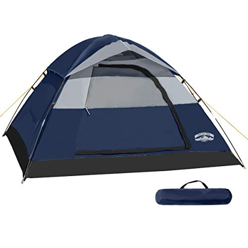 Pacific Pass 2 Person Family Dome Tent with Removable Rain Fly, Easy Set Up for Camp Backpacking Hiking Outdoor, 82.782.747.2 inches, Navy Blue