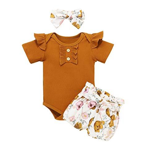 Bonfor 3 Piezas Ropa Bebe Niña 0-3 Meses Conjunto Verano de Floral Mono + Pantalón Corto + Banda de Pelo para Recien Nacido Niño 0-24 Meses Algodon Barata (Marrón, 6-12 Meses)