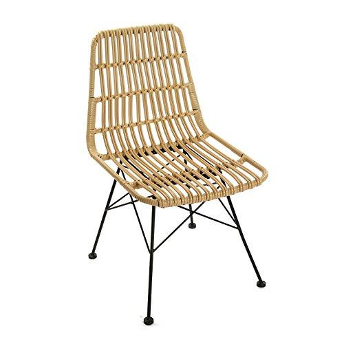 Versa 21380004 Chaise Sinaloa Nature, métal, Beige, 60 x 47,5 x 83 cm