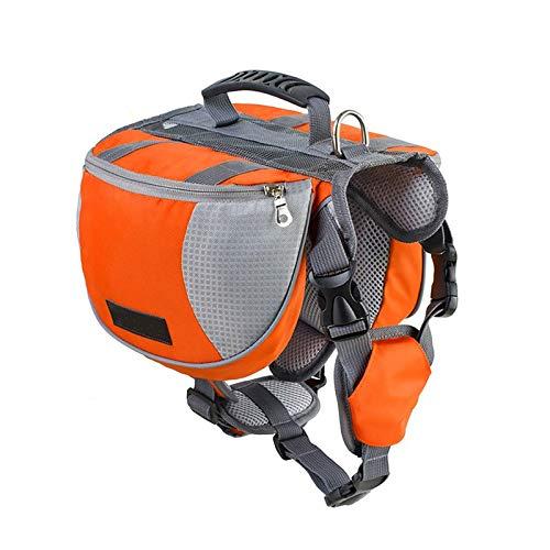 Lifeunion Adjustable Service Dog Supply Backpack Saddle Bag for Camping Hiking Training(Orange,Medium)