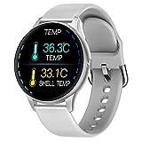 Smartwatch con medición de la temperatura corporal, Oxímetro de Pulso Esfigmomanómetro y Pulsómetro Reloj Inteligente Impermeable para Hombre Mujer, Pulsera de Actividad para Android iOS ,Blanco