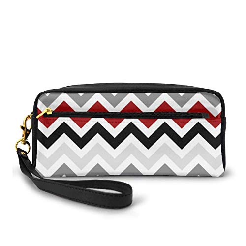 Pencil Case Dark Red Black Gray Chevron Zigzag Pen Bag Makeup Pouch Wallet Large Capacity Waterproof for Students or Women