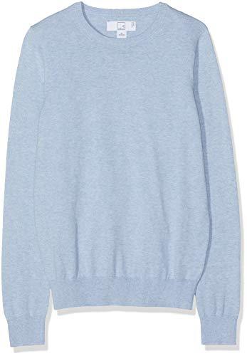 Amazon-Marke: MERAKI Baumwoll-Pullover Damen mit Rundhals, Blau (Ocean Blue), 38, Label: M