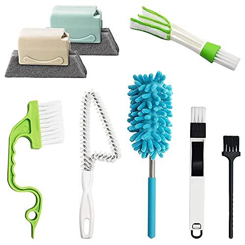 OVBBESS Cepillo de limpieza de mano para ventana, herramientas de limpieza de espacio de ventana de puerta, plumero y cepillo de limpieza lavable para pista de grietas