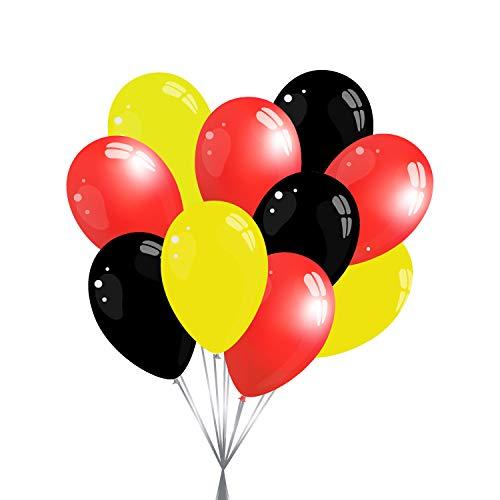 15 Premium Luftballons in Schwarz/Rot/Gelb - Made in EU - 100prozent Naturlatex somit 100prozent giftfrei & 100prozent biologisch abbaubar - Deutschland - für Helium geeignet - twist4®