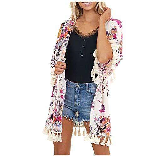 Inawayls Damen Florale Kimono Cardigan - Cardigan Tops Casual Lose Bluse Shawl Sommer Beach Cover up Leichte Strand Jacke