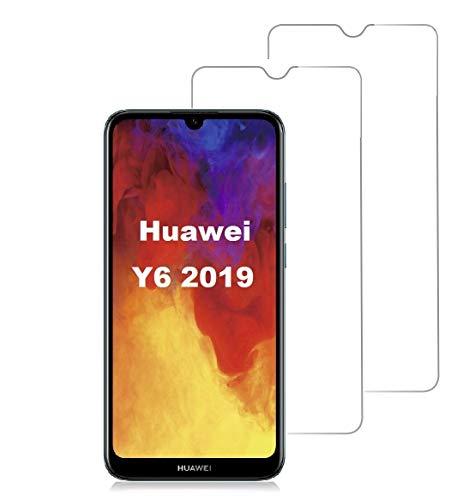Smartphone-Equipment [2er Pack Panzerglas für Huawei Y6 2019 Echt-Hartglas 9H, Glasfolie Schutzfolie Glas Folie Panzerfolie Bildschirm Schutz