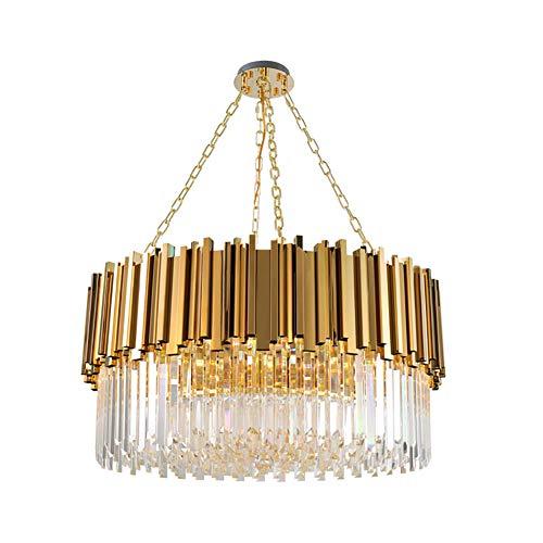 Simple Modern Kristall Kronleuchter Einstellbar Golden Deckenleuchte Flush Mount Hängelampe Für Wohnzimmer Esszimmer Lobby Badezimmer-Golden 60cm(24inch)