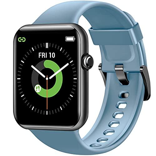 Letsfit Smartwatch, 1.55 Zoll Fitnessuhr mit Schrittzähler, Fitness Tracker mit Pulsuhr Schlafmonitor und Blutsauerstoffsättigung, 5ATM Wasserdicht Sportuhr Smart Watch für Damen Herren, Blau