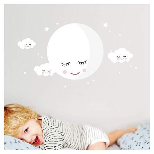 Little Deco Wandsticker Mond & Wolken I Weiß M - 30 x 30 cm (BxH) I Kinderzimmer Wandtattoo Mädchen Junge Baby Deko Zimmer DL246-3-M