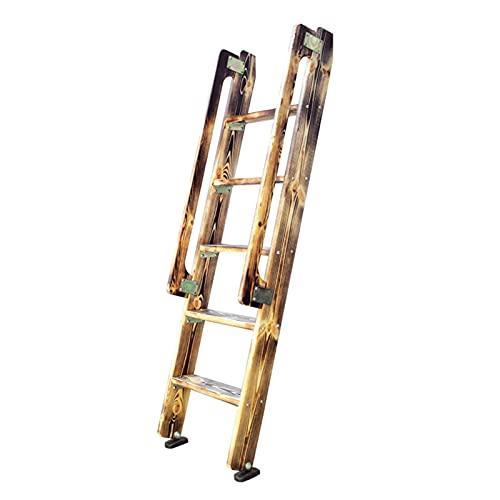 ZXXL Taburete Escalera Escalera de Litera Doble de 5 Escalones, Escaleras de Escalera de Madera Carbonize con Pasamanos, para el Hogar/Apartamentos/Dormitorio, Pie Antideslizante, Carga 150kg