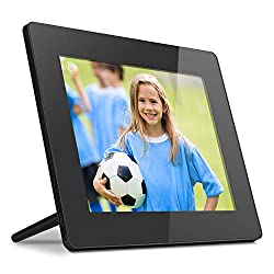 Aluratek 8 Inch Touchscreen Wifi Digital Photo Frame 16GB Memory with Built-In Clock, Calendar, Alarm, Weather, Black (AWDMPF208F)