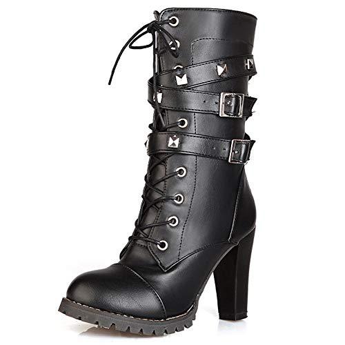 SheSole Damen Stiefeletten Stiefel mit Gürtelschnalle Emo Punk Boots mit Hohe Absatz Schnürstiefel Niet Schwarz Gr. 39