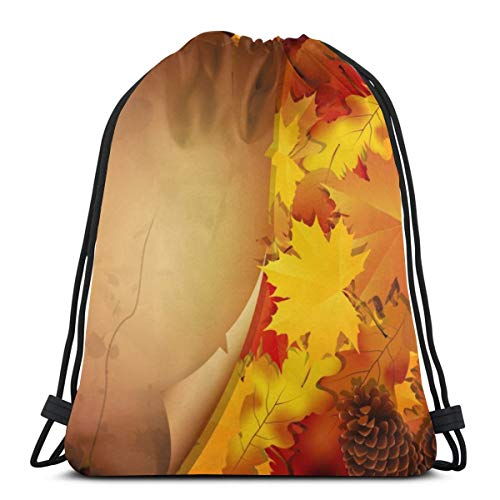 Osmykqe Drawstring Bags Autumn Background With Leaves And A Paper Water Resistant Travel Day Bag for Men Women Kids Outdoor Camping