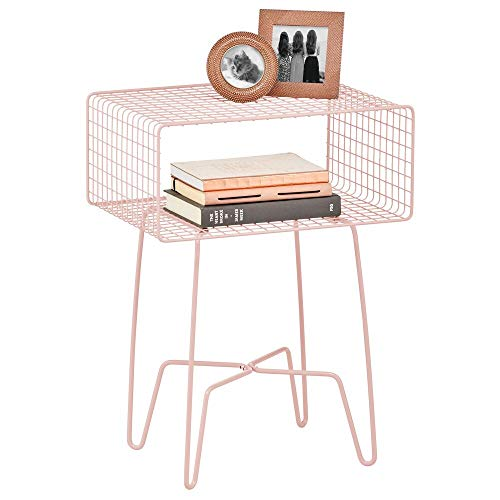 mDesign Mesita auxiliar de metal pequeña – Elegante mesa auxiliar vintage para el salón o el dormitorio – Mesa de centro con moderno diseño de horquilla – rosa claro