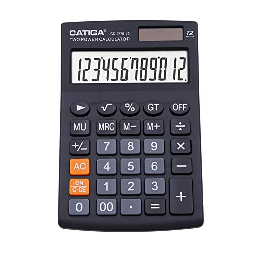 CATIGA calculadora de Escritorio con 12 dígitos Pantalla LCD, doméstico o de Oficina, fácil de Usar con Funciones claras Display/Tarjetas de Memoria, cd-2775 (Negro)