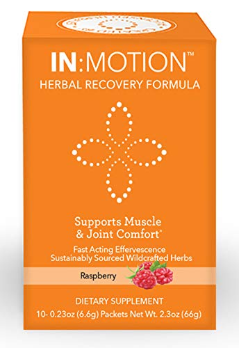 IN:MOTION Herbal Recovery Formula Natural Pain Relief 10 Delish Drink Mix Packs, Raspberry Flavor, Corydalis, Tumeric, Ginger + 9 More Anti-INFLAMMATORY ADAPTOGEN Herbs, Clinically Proven Ingredients