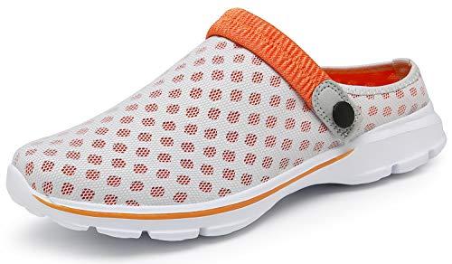 ChayChax Zuecos Mujer Hombre Zapatillas de Playa Respirable Sandalias Verano de Malla Ligeros Antideslizante Clogs Zapatos de Jardin, Beige, 45 EU