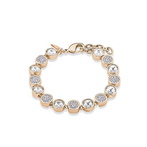 Noelani Damen-Armband rosévergoldet veredelt mit Swarovski Kristallen weiß hellblau 16+3 cm