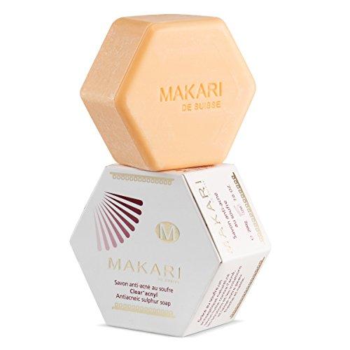 Makari Classic Savon Clarifiant Acnyl au Soufre 7.0oz - Savon anti-acné pour le visage et le corps – Soin nettoyant et hydratant combat les éruptions acnéiques, les pores obstrués, l'excès de sébum