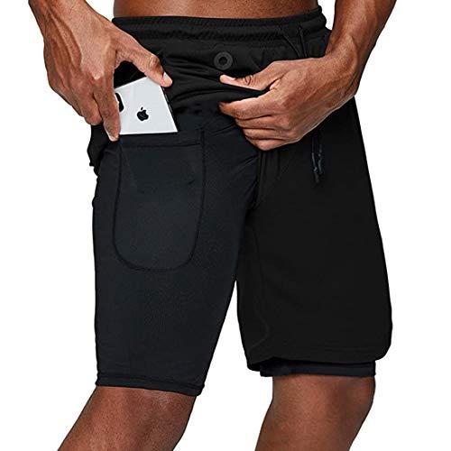 EVR Hombres Pantalónes Cortos de Running 2-en-1, Pantalones Cortos de Atletismo/Pantalones Cortos de Fitness Maratón, Transpirable Pantalones+Secado Rápido,Negro,XXXL
