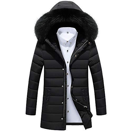 Daunenjacke Herren Winterjacke,KaloryWee Männer Herbst Winter Coat Jacke Mantel Outwear Slim Long Trench Zipper Caps Mantel Hut kann abgenommen Werden