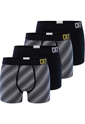 CR7 Cristiano Ronaldo - Fashion - Boxershorts für Herren - 4er Pack - Schwarz/Weiss - Grösse S