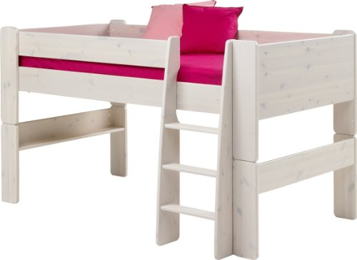 Steens For Kids Kinderbett, Hochbett, inkl. Lattenrost und Absturzsicherung, Liegefläche 90 x 200 cm, Kiefer massiv, weiß