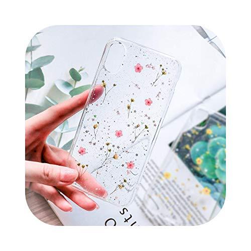Carcasa de TPU suave para iPhone 11 X XS XR XS Max 6 6S 7 8 Plus con diseño de flores reales, flores secas