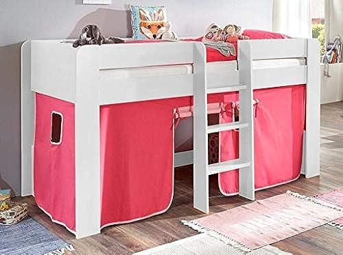 Froschk g24 Hochbett ANDI 1 Kinderbett Spielbett halbhohes Bett WeißStoffset Rosa Rosa, Matratze mit