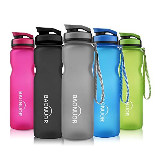 BAONUOR Sport Trinkflaschen 1L, [BPA Frei ] Tritan Wasserflasche Auslaufsicher Sportflasche für Kinder, Schule, Gym, Fitness, Fahrrad,Outdoor