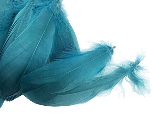 Colorful Goose Feathers, for DIY Craft Wedding Home Party Decorations 50pcs/Pack/ (4-7.8 inch) (Ink Blue)