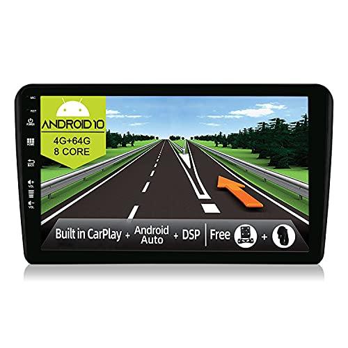JOYX Android 10 Autoradio Compatibile A3 (2003-2013) - [4G+64G] - Built-in DSP/Carplay/Android Auto - LED Camera Canbus GRATUITI - Supporto BT5.0 DAB Volante 4G WiFi 360-Camera - 9 Pollici 2 Din